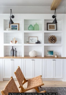 Top Neutral Living Room Cabinets Storage Ideas That You Will Love 30