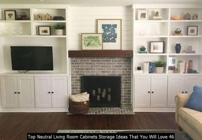 Top Neutral Living Room Cabinets Storage Ideas That You Will Love 46