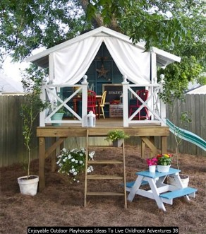 Enjoyable Outdoor Playhouses Ideas To Live Childhood Adventures 38