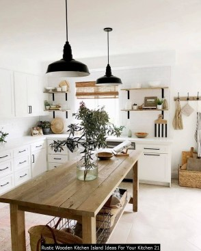 Rustic Wooden Kitchen Island Ideas For Your Kitchen 21