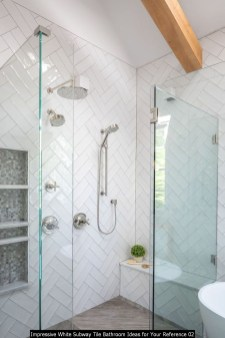 Impressive White Subway Tile Bathroom Ideas For Your Reference 02