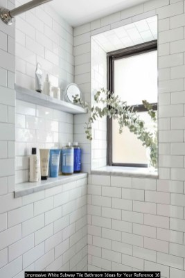 Impressive White Subway Tile Bathroom Ideas For Your Reference 16