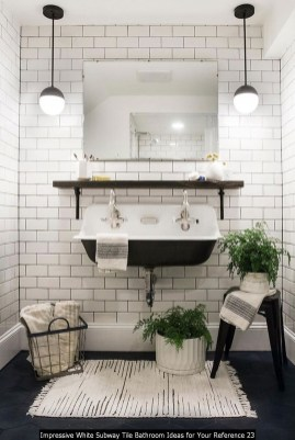 Impressive White Subway Tile Bathroom Ideas For Your Reference 23