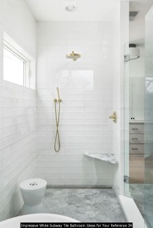Impressive White Subway Tile Bathroom Ideas For Your Reference 34