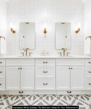 Impressive White Subway Tile Bathroom Ideas For Your Reference 41