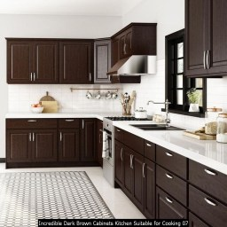 Incredible Dark Brown Cabinets Kitchen Suitable For Cooking 07