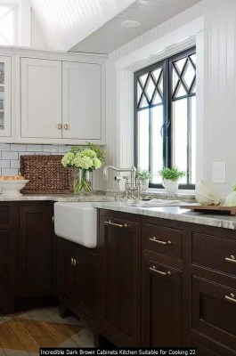 Incredible Dark Brown Cabinets Kitchen Suitable For Cooking 22