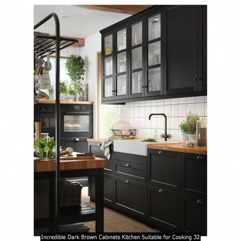 Incredible Dark Brown Cabinets Kitchen Suitable For Cooking 32
