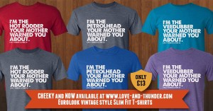 Slim fit t-shirts for petrolheads, veedubbers and hotrodders