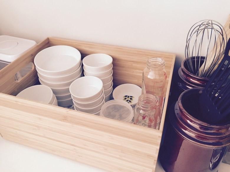 無印良品 子ども 食器 収納 キッチン ワークトップ 整理 竹材ボックス