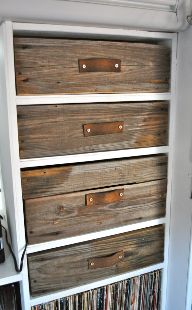 custom distressed drawers with leather pulls