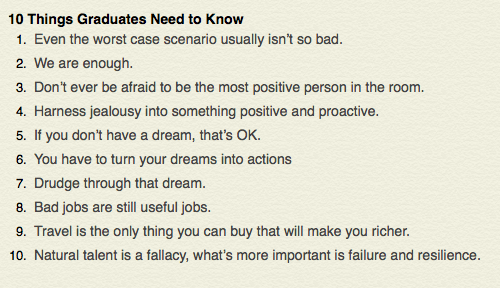 10 things graduates need to know