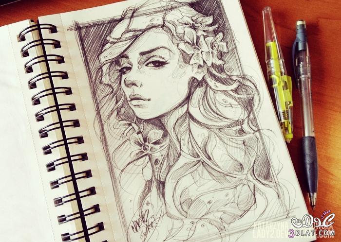 صور بنات مرسوم صورة بنت مرسومة بالقلم الرصاص رسائل حب