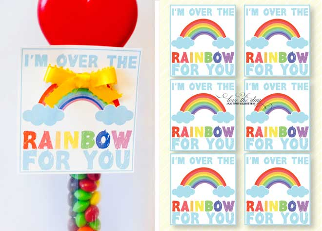 Rainbow Valentine's Day Card Ideas by Love The Day