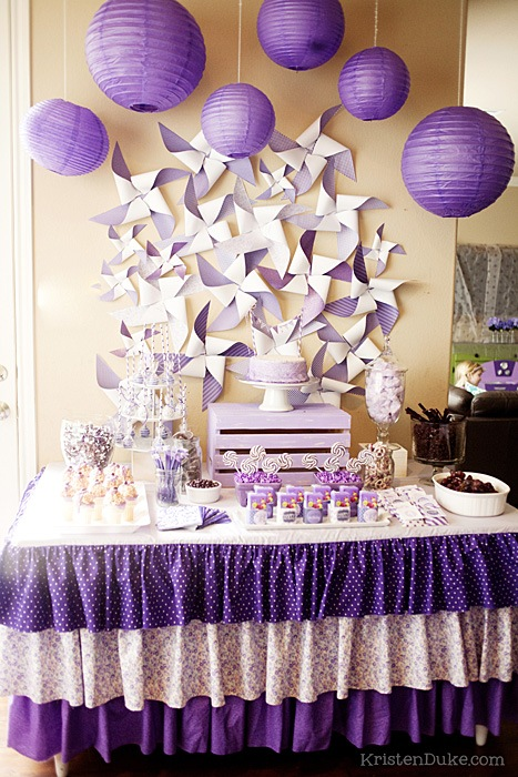 Purple party with diy pinwheels, purple pinwheels and a purple printables.