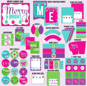 Merry & Bright Christmas PRINTABLE Party by Love The Day