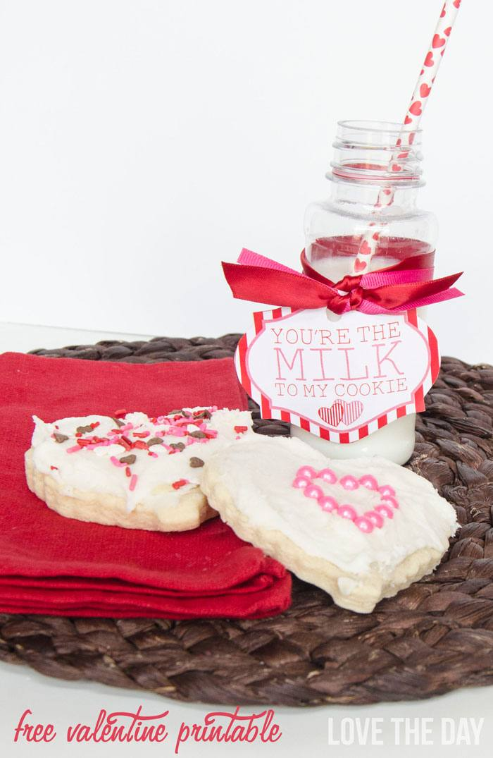 Milk & Cookie Valentine FREE Printable by Love The Day!