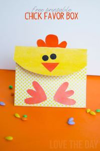 FREE Easter Printable:: Chick Favor Boxes by Love The Day