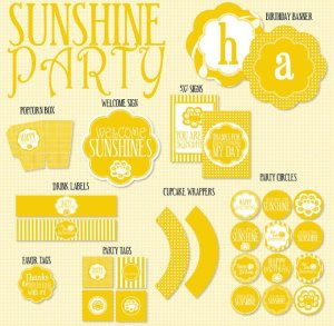 Sunshine Party PRINTABLE Birthday (INSTANT DOWNLOAD) by Love The Day