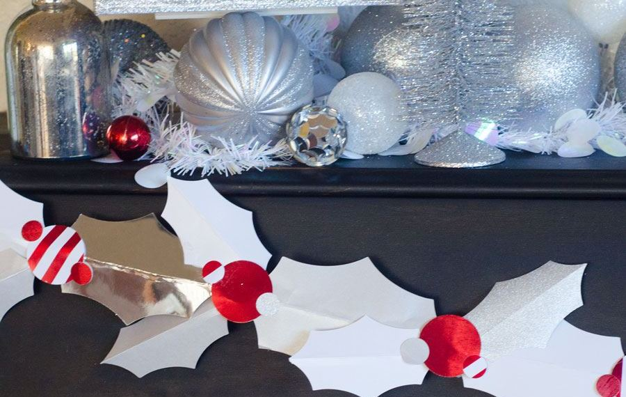DIY Paper Holly Garland Idea by Lindi Haws