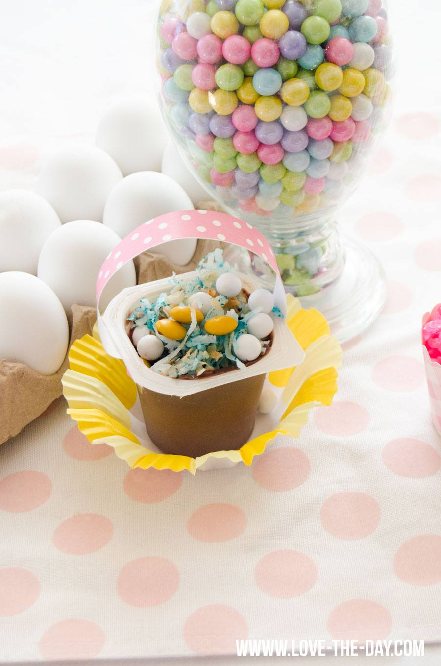 Easter Party Ideas:: Pudding Easter Baskets by Love The Day