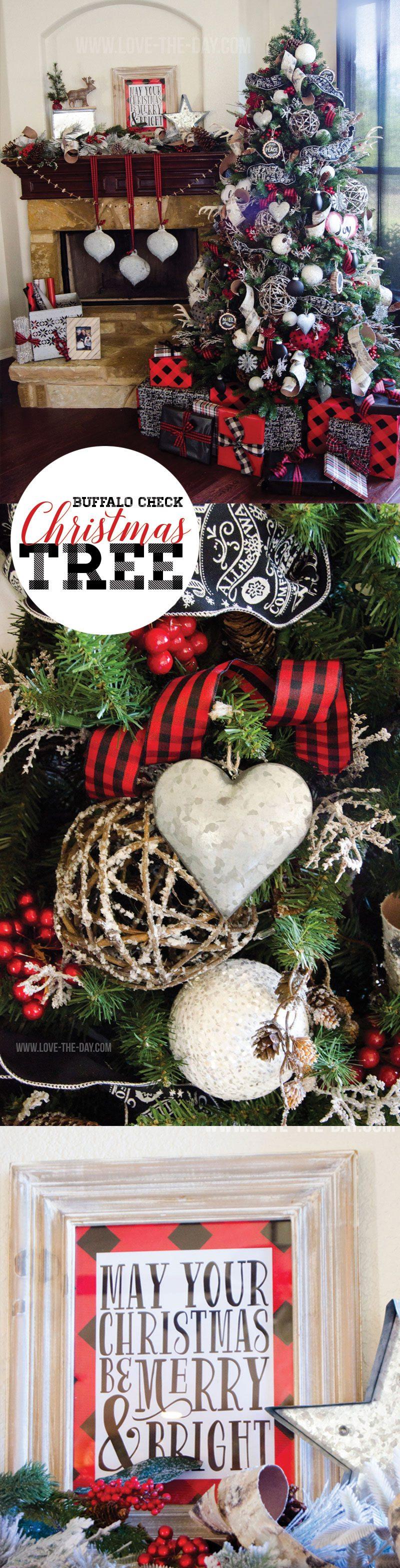 Buffalo Check Christmas Tree Idea by Lindi Haws of Love The Day
