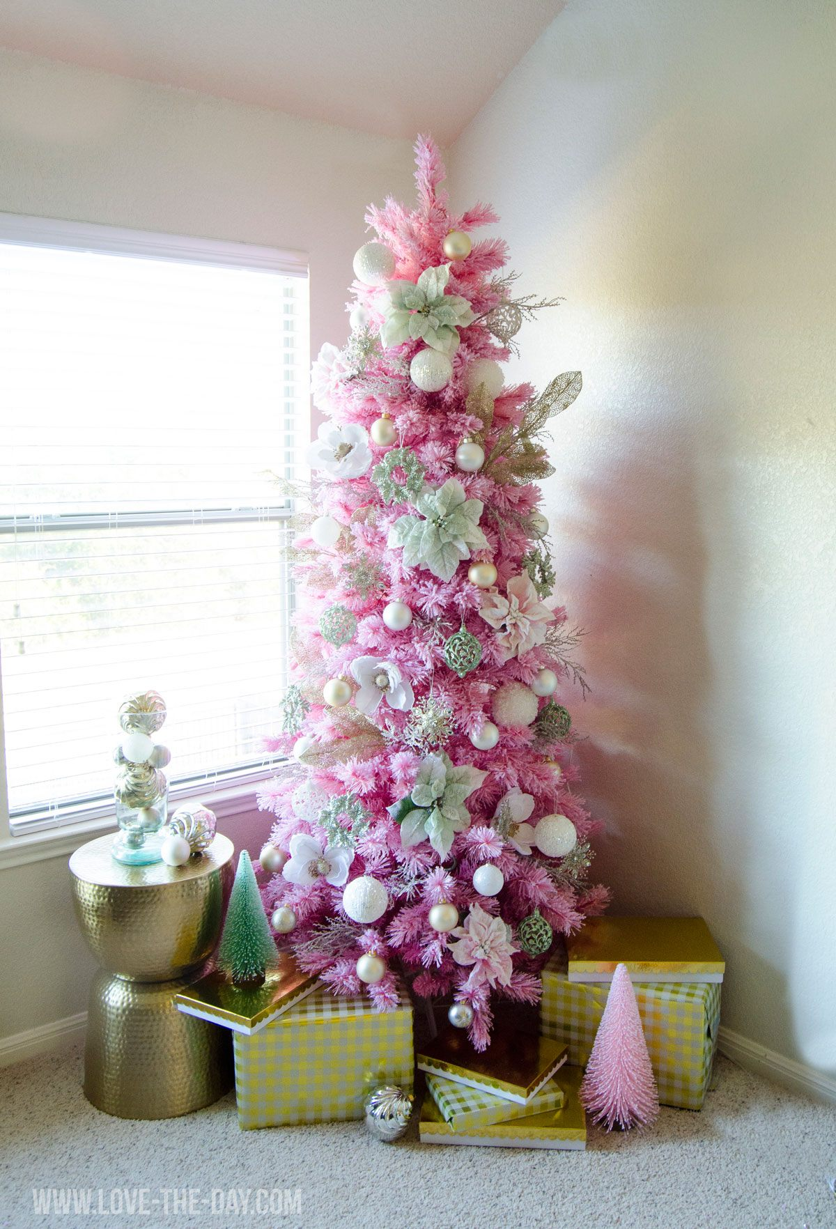 pink gold christmas tree by love the day
