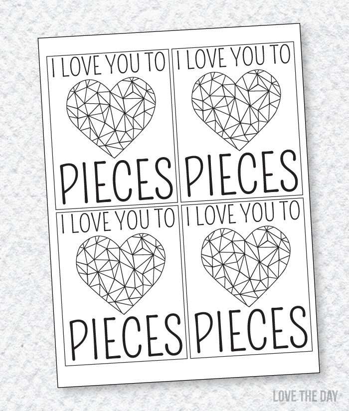 Valentine Cards To Color PRINTABLE by Love The Day