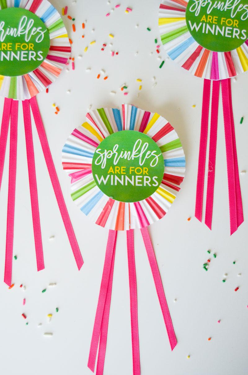 'Sprinkles Are For Winners' Medallion Tutorial and FREE Printable by Lindi Haws of Love The Day