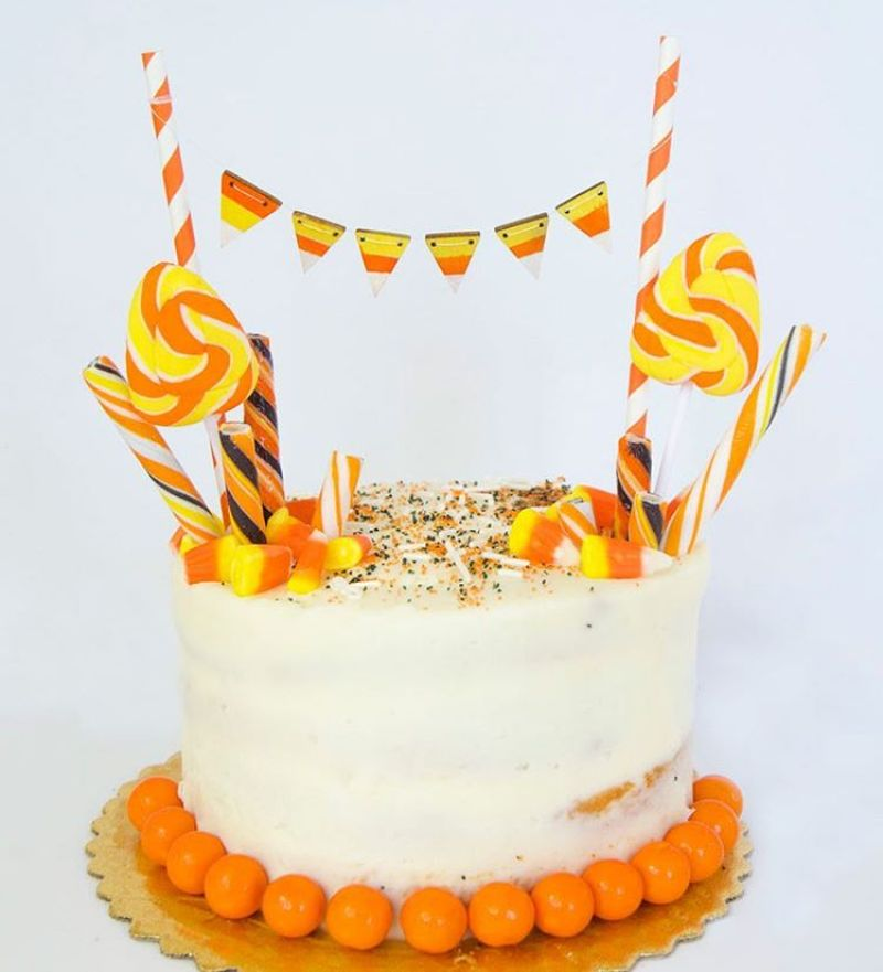 What's better than candy corn?! A candy corn cake of course! Learn how to make this candy corn cake garland over on the @orientaltrading blog. #LTDcrafts #orientaltrading
