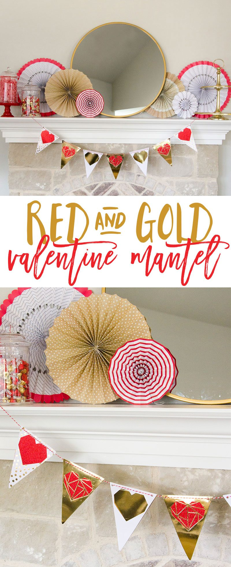 DIY Valentine's Day Decorations & Mantel Tutorial by Lindi Haws of Love The Day