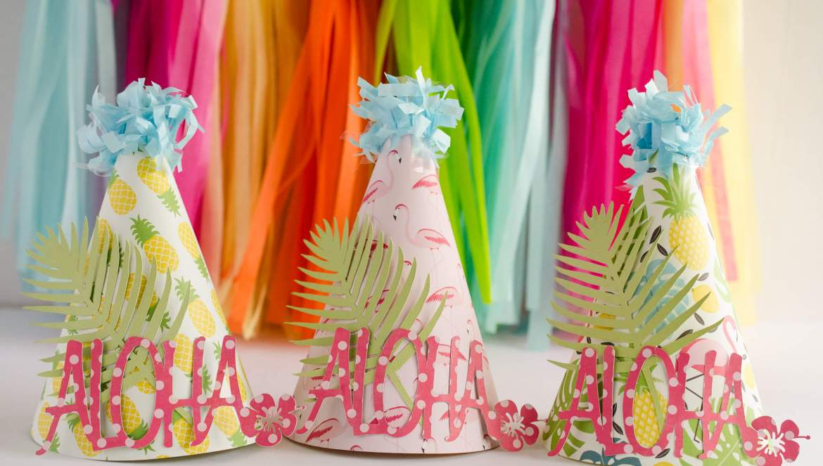 Learn how to make these colorful Tropical Party Hats by Fawn Prints on Love the Day