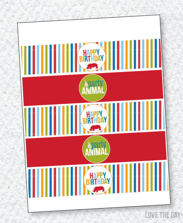 Party Animal PRINTABLE Drink Labels by Lindi Haws of Love The Day
