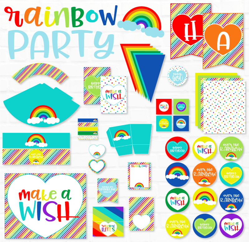 Rainbow Party Printable by Lindi Haws of Love The Day