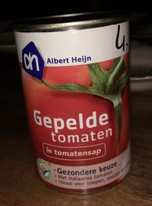 Test gepelde tomaten in blik - Blikje AH Huismerk gepelde tomaten