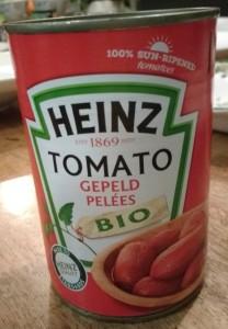 Test gepelde tomaten in blik - Blikje Heinz Bio gepelde tomaten