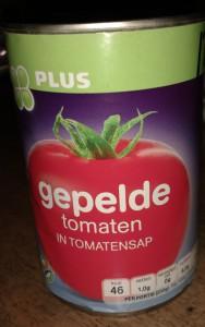 Test gepelde tomaten in blik - Blikje Plus Huismerk gepelde tomaten