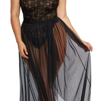 Lace Teddy and Sheer Wraparound Skirt