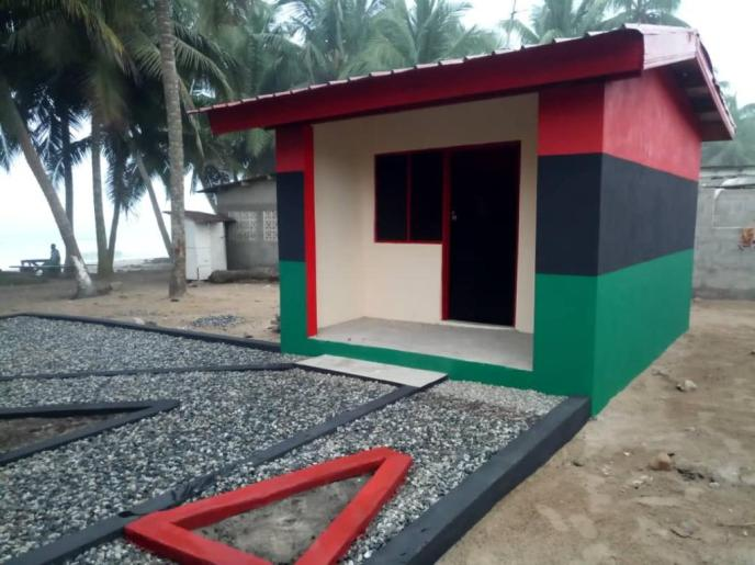 Completed Love Africa Project public washroom storage building.