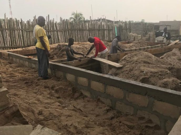 Foundation walls being built for washroom build in Saltpond, Ghana
