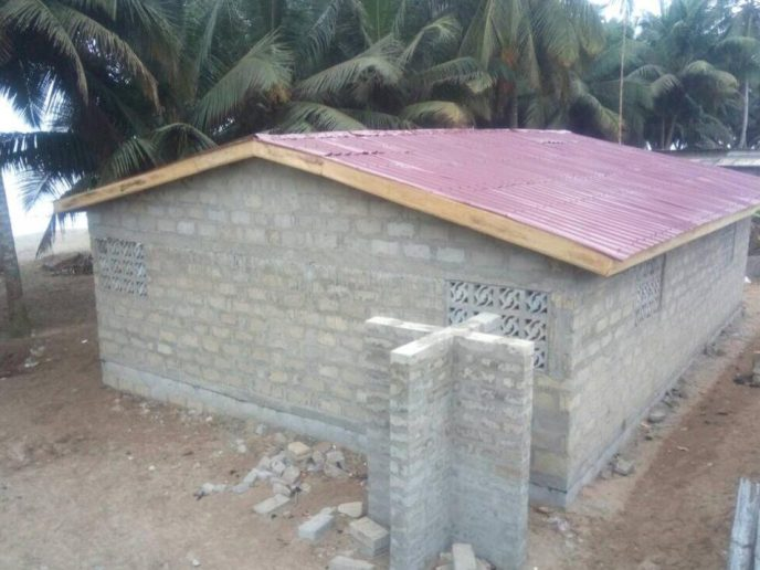 Aerial view of public washroom construction to help end open defecation in Ghana