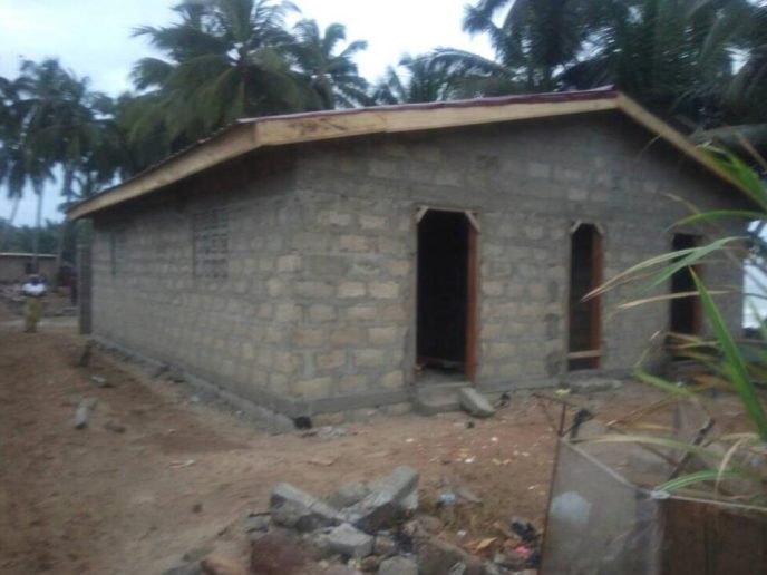 The front of the public washroom in Saltpond, Ghana