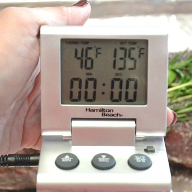 Set target temp to 135 degrees F for medium rare.