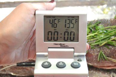 Set target temp to 135 degrees F for medium rare.