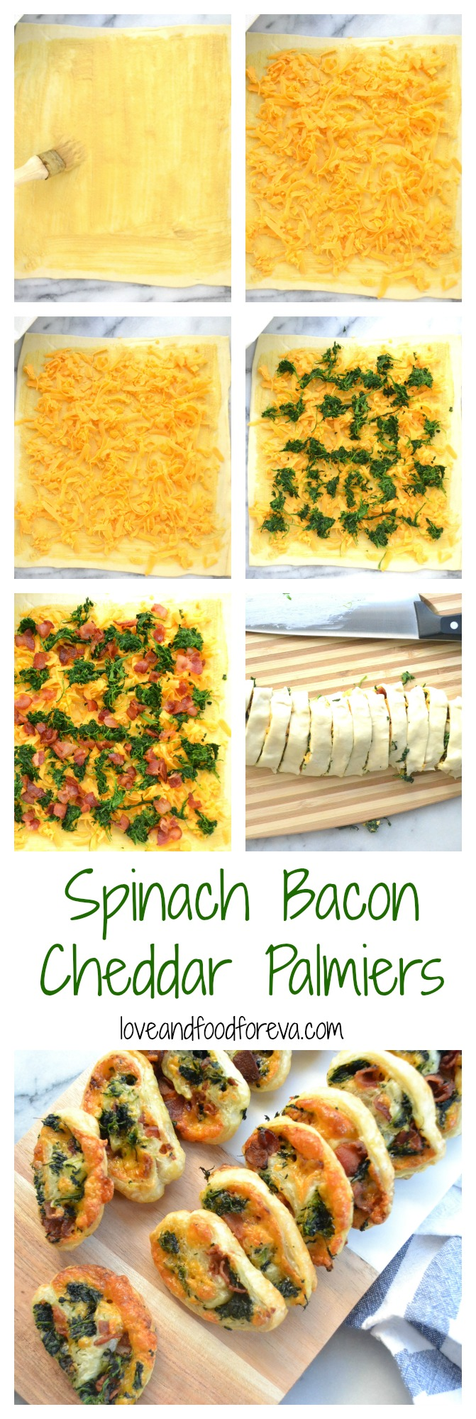 Spinach Bacon Cheddar Palmiers - the perfect bite size dish for cocktail parties!