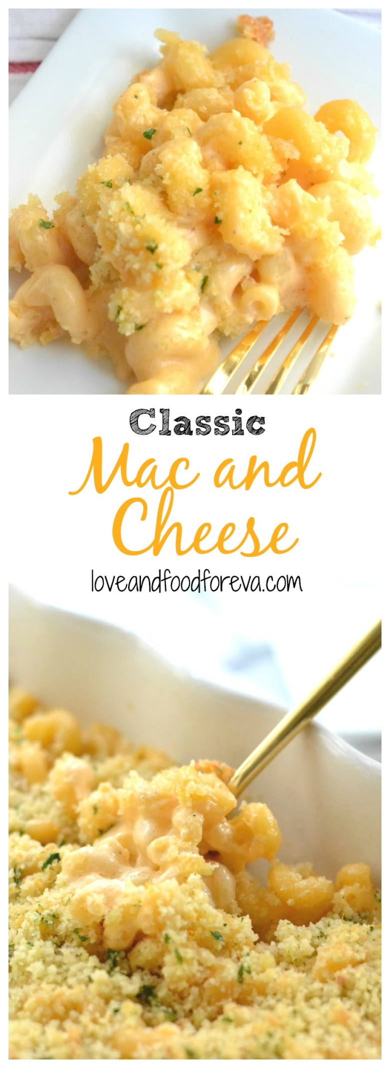 Classic Mac and Cheese with Panko Crumb Topping: creamy and gooey with a crunch!