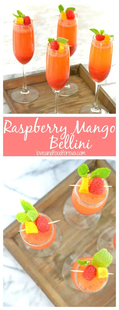 You're 3 ingredients and 5 minutes away from the perfect summer cocktail: Raspberry Mango Bellini!