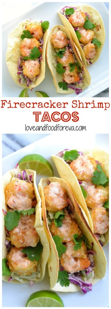 Firecracker Shrimp Tacos: sweet and spicy, crispy shrimp are perfectly complimented by tangy, crunchy cilantro slaw and wrapped with a warm flour tortilla!