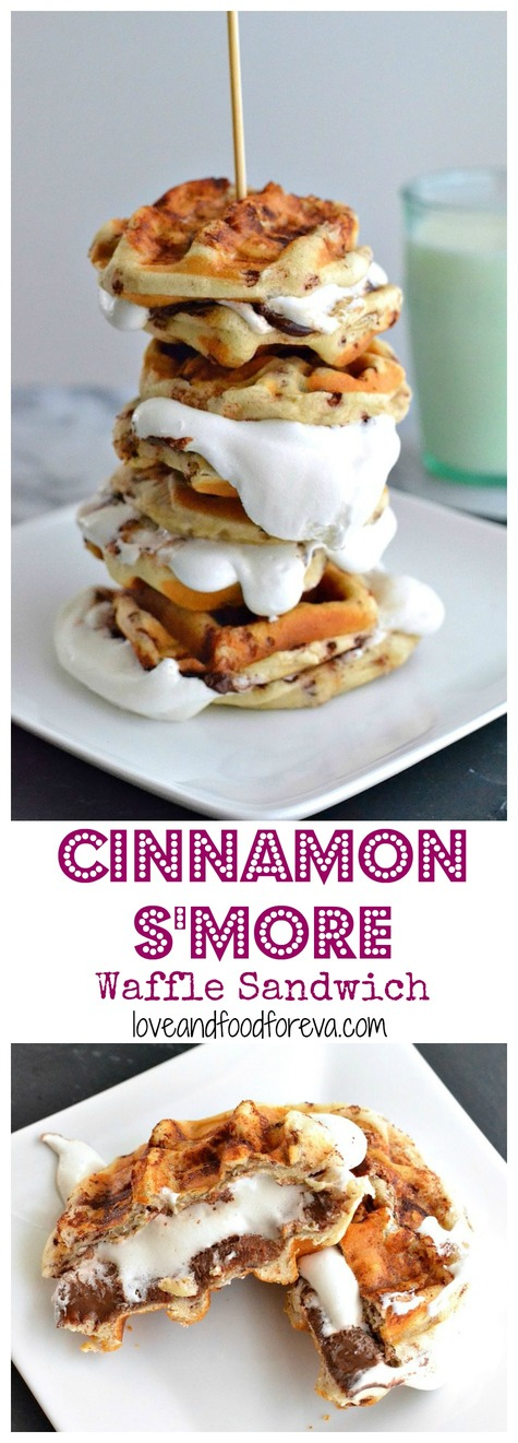 Cinnamon S'more Waffle Sandwiches take dessert to a whole new level! All while being fast and easy!