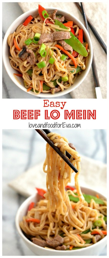 Skip the takeout and make this healthy, homemade Easy Beef Lo Mein....ready in about half an hour and perfect for any night of the week!